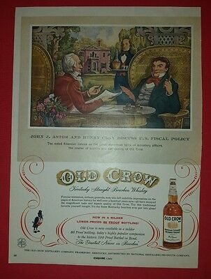 Vintage Old Crow Kentucky Straight Bourbon Whiskey/Zenith Radio Esquire Ad Page