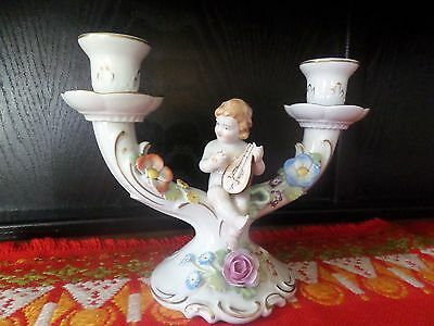 Antique Von Schierholz Two Arm Porcelain Cherub Candelabra Holder with mandolin