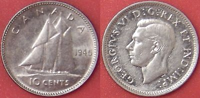 Extra Fine 1945 Canada Silver 10 Cents