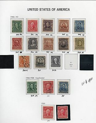 Old Classic Stamp Collection on Album Page (1902 - 1903 Issues) 17 Stamps