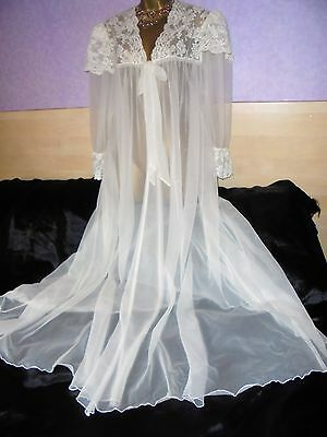 "STUNNING VINTAGE OLGA SHEER  Gown  NEGLIGEE PEIGNOIR  46"" BUST  RARE"