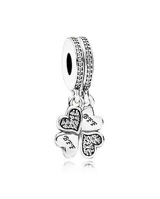 Genuine Authentic Pandora Silver Best Friends Forever BFF Dangle Charm 791949CZ
