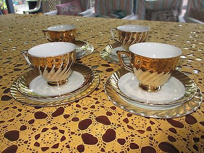 """Vintage Gold Cup, Saucer ,Plate Trios ,set of 4 sets"""" Classic  Fine China Aust"""""""