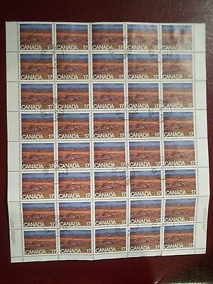 1980 BLOCK OF 40 USED 17c 75th ANNIV OF ALBERTA STAMPS FROM CANADA