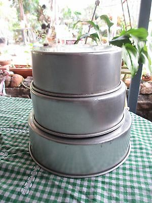 3 Vintage Aluminium  round  Cake Tins can be tiered