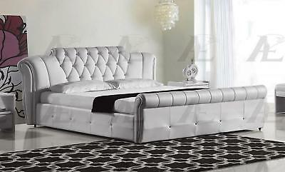 American Eagle B-D032-W White PU Queen Size Tufted Headboard Platform Bed