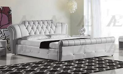 American Eagle B-D032-W White PU Eastern King Size Tufted Headboard Platform Bed