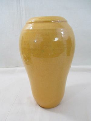Vintage Sunset Mountain Art Pottery, Mustard Yellow Glaze Vase 1930's