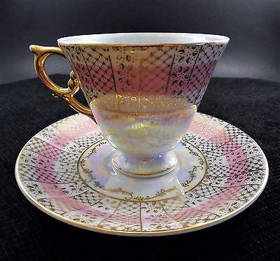 Royal Sealy Lustreware Footed China Tea Cup and Saucer made in Japan