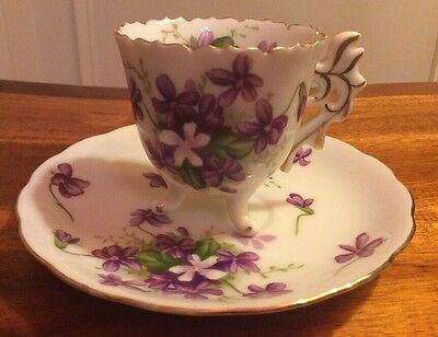 Bone China Demitasse Hand Painted Tea Cup & Saucer Spring Violets Rossetti
