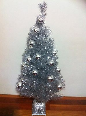 Christmas tree, Silver, light- up, comes with ornaments