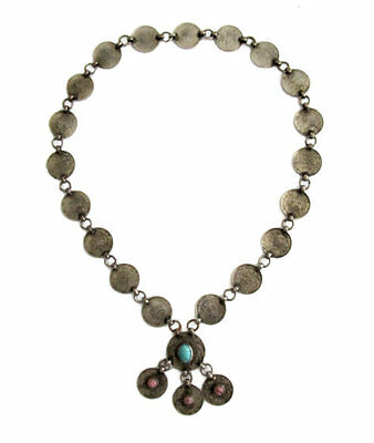 Vintage Persian Silver Coin Necklace with Cabochon Rubies & Turquoise