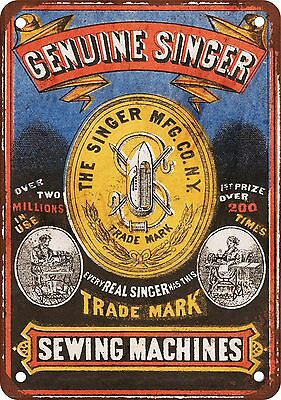 """Singer Sewing Machines 10"""" x 7"""" Reproduction Metal Sign"""