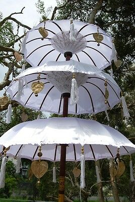 Large Triple Tier Handmade Balinese Umbrellas White,Red Yellow or Fuchsia