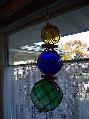 3 Vintage Green Cobalt Yellow Hand Blown Button Marked Glass Fishing Float Japan
