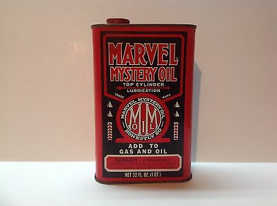 Vintage Marvel Mystery Oil Lubrication Quart Empty Can original Sign Gas auto