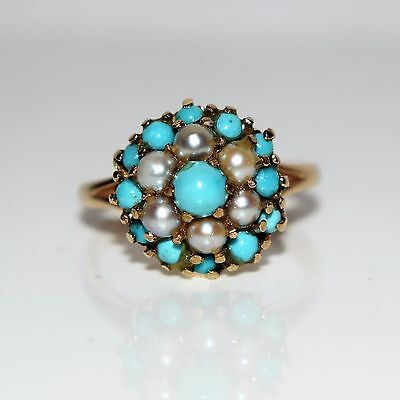 Large Pearl & Turquoise Cluster 9ct yellow gold ring size M ~ US 6 1/4