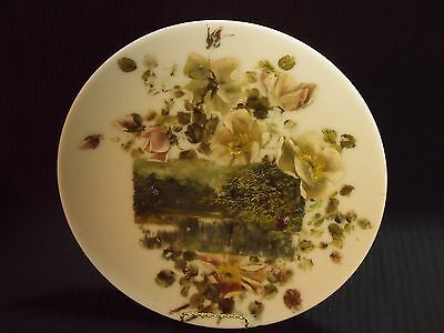 """Unusual Victorian 12"""" Hand Painted Milk Glass Plate With Roses And Lake Scene"""