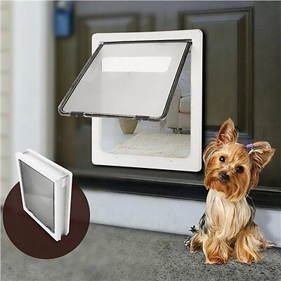 NEW Lockable Extra Large 2 Way Magnetic Pet Dog Cat Brushy Flap Door - White