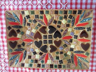Vintage Retro 1960s Mosaic Plate made in Japan 20.5 x 14.5 cms