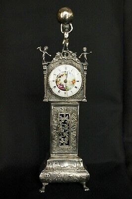 Antique Silver Miniature Grandfather Clock with 18th c. Cylinder Fusee Movement