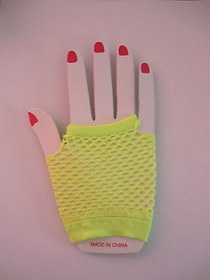 Dance Costume Fingerless Fishnet Gloves Short Fluoro Yellow Fancy Dress 80's
