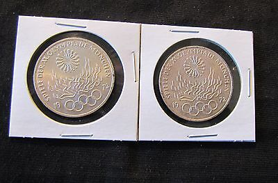 Lot of 2 1972 Germany 10 Mark Silver Coins Olympics 1972-J & 1972-F