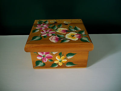 Hand Handpainted & Sealed Wooden Box With Lid Beautiful Floral & Bees Decoration