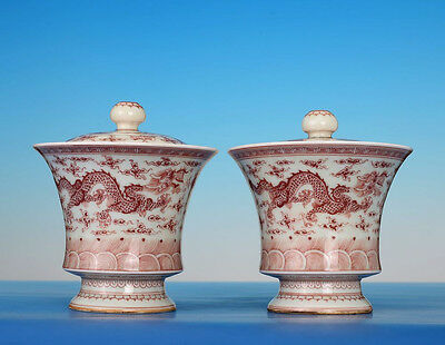 Pair Of Rare Chinese Antique Handmade Porcelain Tea Cups Marked GuangXu