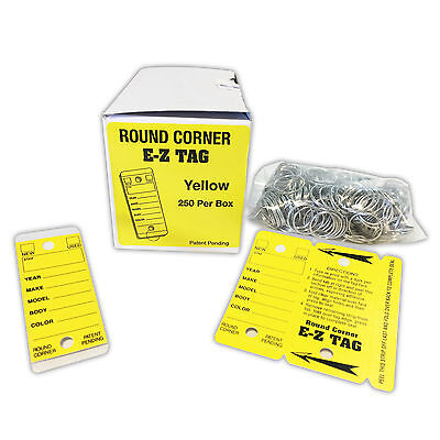 Round Corner Dealer Key Tags | Self Laminating, Yellow | EZ407