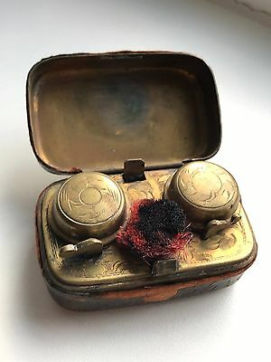Antique Leather Covered Travelling Double Inkwell With Pen Wipe