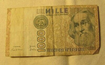 ITALY 1000 Lira Banknote World Money Currency Europe Note Bill Marco Polo