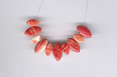 Red Orange Spiny Oyster Tapered Oval Pendant Beads - 9218