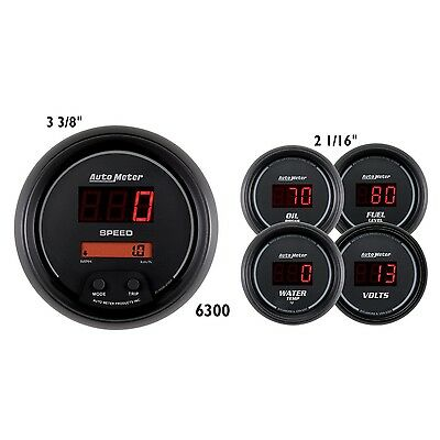AutoMeter 6300 Sport-Comp Digital 5 Gauge Set Fuel/Oil/Speedo/Volt/Water