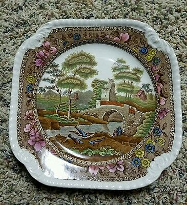 """Copeland Spode Polychrome Gadroon Delft 8.5"""" Tower Salad Plate"""