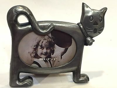 """Pewter Cat Picture Frame  Easel Back Holds 2"""" X 3"""" Photo Cute Cute"""
