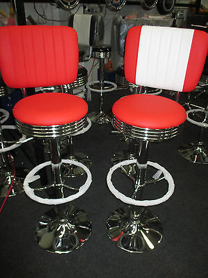 New  Retro Colours - Red And White Bar Stool With Backrest - Chrome Gas Lift!