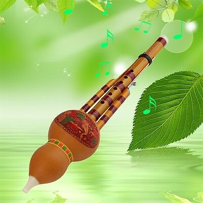 Chinese Yunnan Hulusi Gourd Flute Ethnic Musical Instrument With Gift Box OE