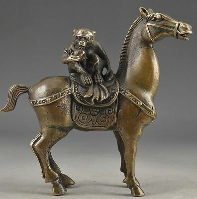 China Vintage Brass Handwork Hammered The Monkey Riding Horse Lucky Statue  0013