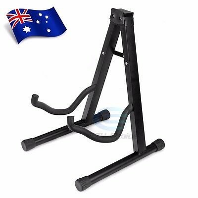 New Folding Electric Acoustic Bass Guitar Stand Floor Rack Holder Black OZ