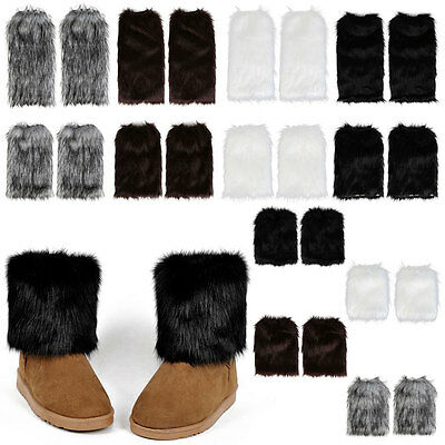 Womens Winter Warm Faux Fur Boot Shoes Cuffs Cover Toppers Socks Leg Warmers UK