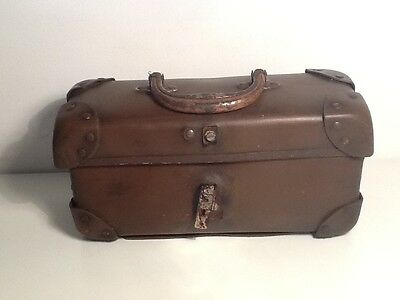Vintage Leather Doctor Style Small Case, metal handle and double skin corners