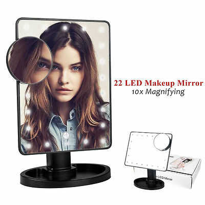 Rotation Screen Make Up Mirror Cosmetic Portable With LED Light Makeup Tool UK