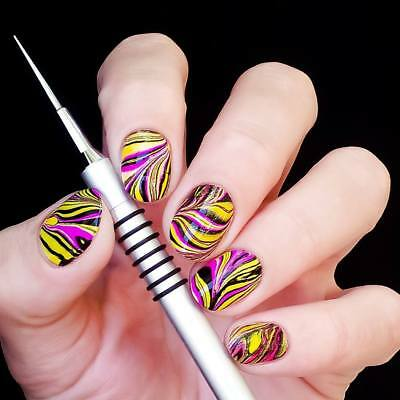 Nail Art Drawing Painting Pen Water Marble Silver Handle  Tips