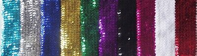 1 Metre of 55MM wide 6 ROW ELASTIC STRETCH SEQUIN TRIM : Select from10 Colours