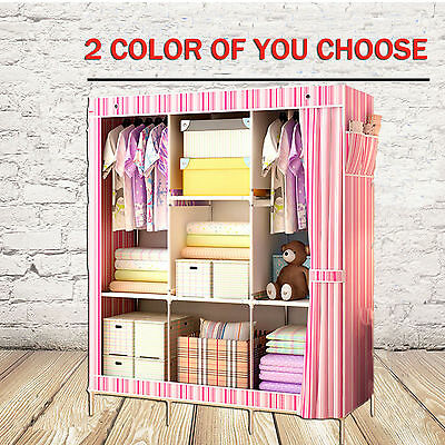 Purple Portable Clothes Closet Canvas Wardrobe Storage Organizer with Shelves