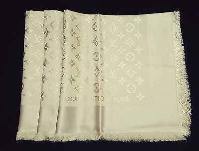 CLASSY NEW Authentic LOUIS VUITTON Monogram LV Dune Silk Wool Shawl Scarf M71360