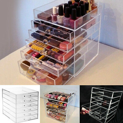 Large 6 Tier Beauty Clear Acrylic Cosmetic Makeup Organiser Drawers Storage Case