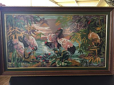 Large Framed Completed Tapestry - Flamingos