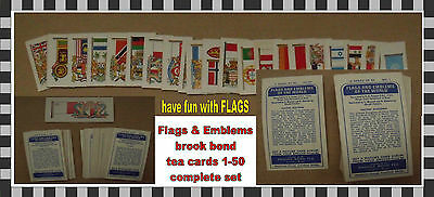 brook bond tea cards flags & emblems 1-50 learn about FLAGS history lesson flags